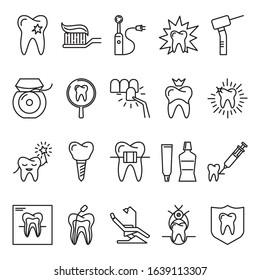 Stomatology and orthodontics icon set in thin line style. Dental care and treatment symbols isolated on white background.