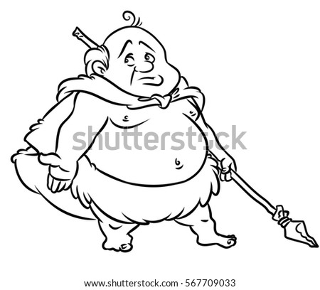 Stone Age Fat Man Hunter Cartoon Stock Illustration 567709033