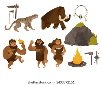 Stone age illustration set with various ancient people and tools and weapons, animals, cave and bonfire in flat cartoon gradient style isolated on white background - elements of caveman life.