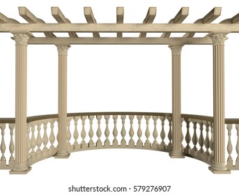Stone balustrade with pergola and columns. 3D rendering