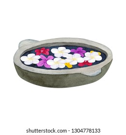 Stone bowl for ablution with flowers. Bowl for spa with frangipani or plumeria. Hand drawn watercolor illustration. Isolated on white background.