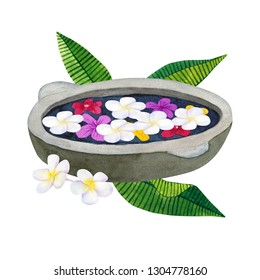 Stone bowl for ablution with flowers. Bowl for spa with frangipani or plumeria and green tropical leaves. Hand drawn watercolor illustration. Isolated on white background.