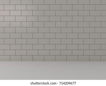 Stone brick wall background. 3D render