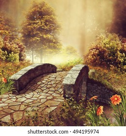 Stone bridge with flowers on a colorful autumn meadow. 3D illustration.
