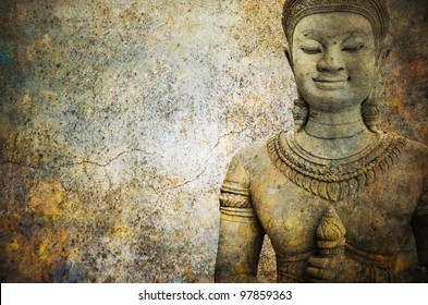 stone  Buddha warrior  statue ayutthaya