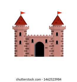 Stone castle with tower, wall and gate. Medieval military house. Old fortress. The reliability and safety of a knight and a king. Cartoon flat illustration. European architecture