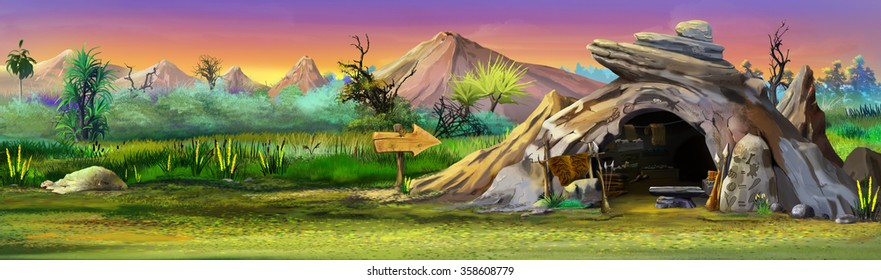 Stone cave with mountains in the background.