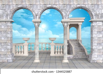 Stone colonnade with balustrade and portico, vases, arches and stucco with sea view -  illustration 3D rendering