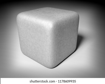 stone cube focused - 3D illustration