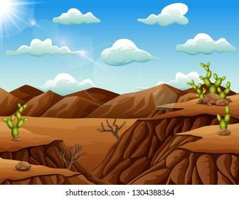 Stone desert landscape with cactus