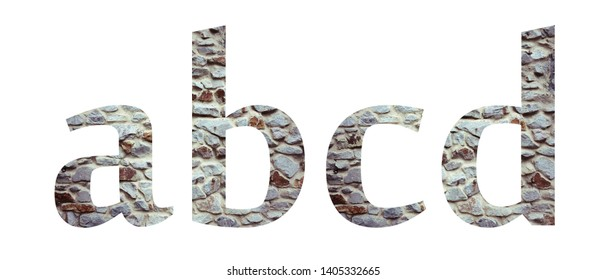 Stone font letter abcd  isolated on white background. Letters and symbols. Textured materials.