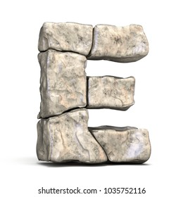 Stone font letter E 3D render illustration isolated on white background