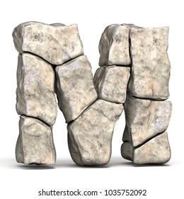 Stone font letter M 3D render illustration isolated on white background