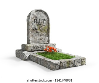 Stone grave with grass isolated on a white background. 3d illustration