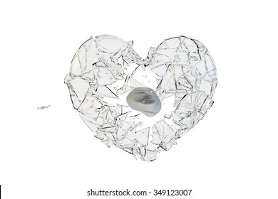 A stone hit the glass heart-shaped, glass shatter.