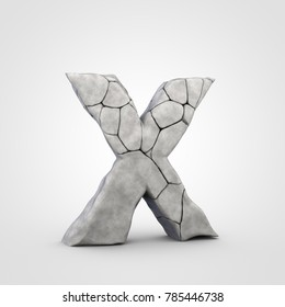 Stone letter X uppercase. 3D render rock font with cracks isolated on white background.