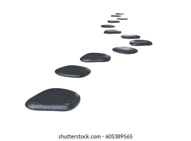 Stone path over on white background 3d illustration