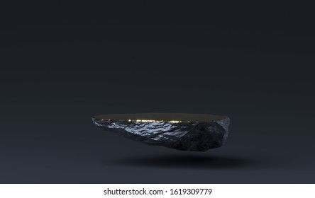 Stone podium for product display. Marble black and gold Pedestal, Product Stand. 3D Rendering. Blank for mockup design. Minimalistic object placement, cosmetic product stone plate platform