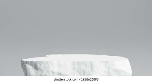 Stone product display podium, Cosmetic stand on white  background. 3D rendering