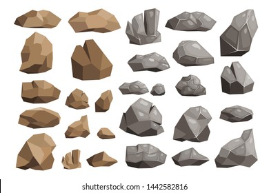 Stone rock rockstone mountain or rocky cliff with stony materials of geology in Rockies mountainous stoniness illustration set isolated on white background
