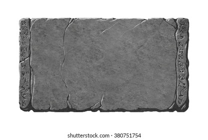 Stone tablet or interface panels with alien or fantasy rune symbols.