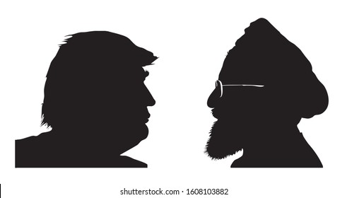 Stone / United Kingdom - January 6 2020: Donald Trump vs. Hassan Rouhani. Silhouettes of presidents of the United States and Iran. Illustrative for US - Iran tensions. RASTER ILLUSTRATION.