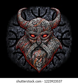 Stone Viking with a horned helmet. Northern God on the background of an ancient Scandinavian navigational sign with a stone texture. illustration on black background.
