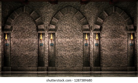 Stone wall with arches and torches 3d illustration