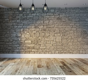 stone wall, interior design for home, office, hotel and bedroom, modern lamp. 3D rendering