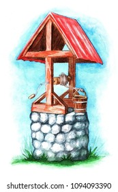 Stone well with a red roof. Watercolor illustration on white background.