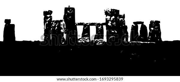 stonehenge-black-white-illustration-real