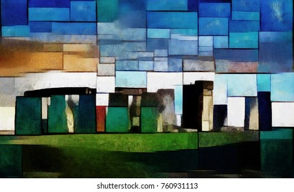 Stonehenge. In explanation of Piet Mondrian and Picasso. Rocks and boulders in England. Ancient architecture in the style of cubism. Oil on canvas with elements of pastel painting.