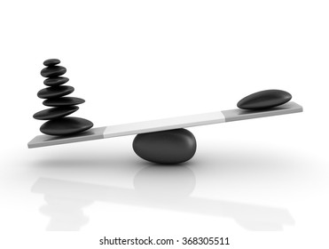 Stones Balancing on a Seesaw - Balance Concept - High Quality 3D Render