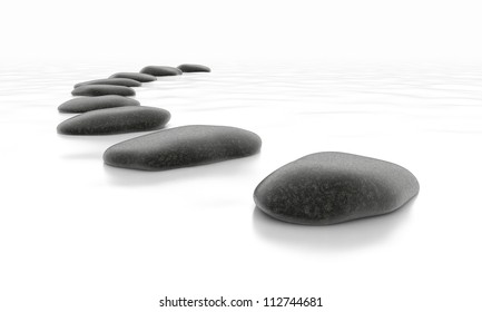 Stones on White Sea - Isolated Object on Background