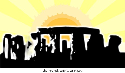 The stones of Stonehenge in England isolated on a morning sky and rising sun background