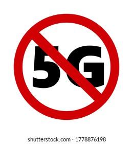 símbolo de signo paro 5G sobre fondo blanco