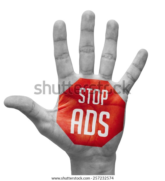 Stop ADS - Red Sign Painted - Open Hand Raised, Isolated on White Background