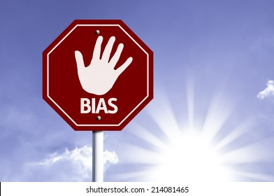 Stop Bias red sign with sun background