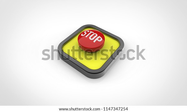 stop button 3d rendering