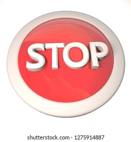 Stop button over white background, 3d rendering