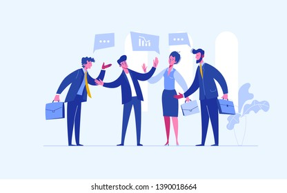 Stop conflict. Businessman referee finds compromise. Mediator solving competition. Conflict and solution. The man throws two fists.  illustration flat design. Isolated on white background