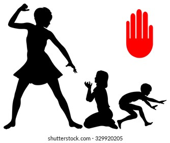 Stop corporal punishment in childhood education. Mother threatens her children and is going to slap them