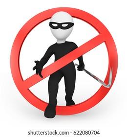 Stop the criminal! 3d illustration.