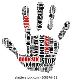 Stop domestic violence. Word cloud illustration in shape of hand print showing protest.