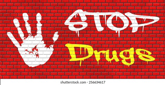 stop drug addiction no drugs addict cocaine heroin crack christal meth graffiti on red brick wall, text and hand