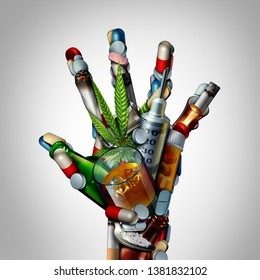 Stop drugs hand or no drug addiction icon as a health issue representing the dangers and risk of smoking drinking alcohol and medicine overdose as opioids as a 3D illustration.