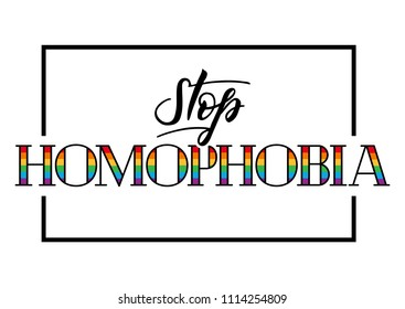 Stop homophobia.Illustration for the International Day against Homophobia. Leasbian and gay equality rainbow symbol LGBT.