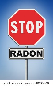 Stop radon - Concept image with road sign on blue background