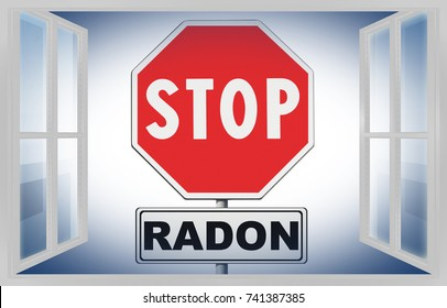Stop radon - Concept image with road sign on white background seen through a window