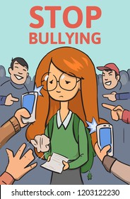 Stop school bullying poster. Phones and fingers pointing at schoolgirl surrounded by laughing bullies. Colored flat illustration. Vertical. Raster version.